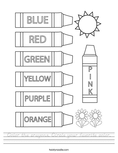 Color the crayons. Circle your favorite color. Worksheet