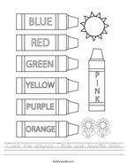 Color the crayons Circle your favorite color Handwriting Sheet