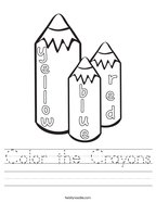 Color the Crayons Handwriting Sheet