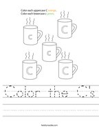 Color the C's Handwriting Sheet