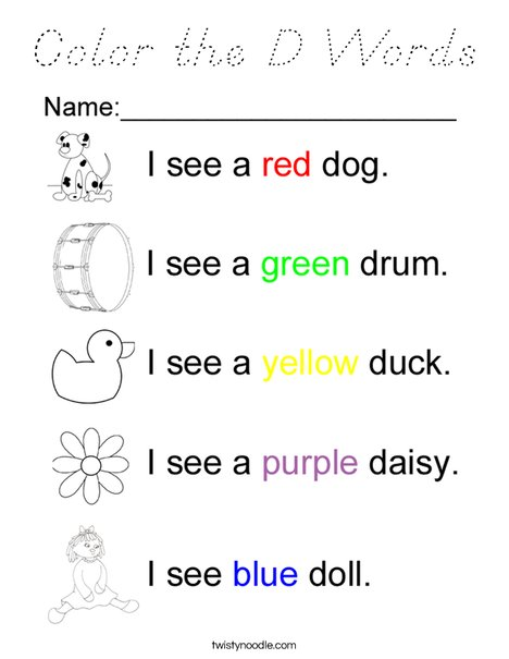 Color the D Words Coloring Page