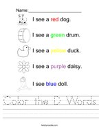 Color the D Words Handwriting Sheet