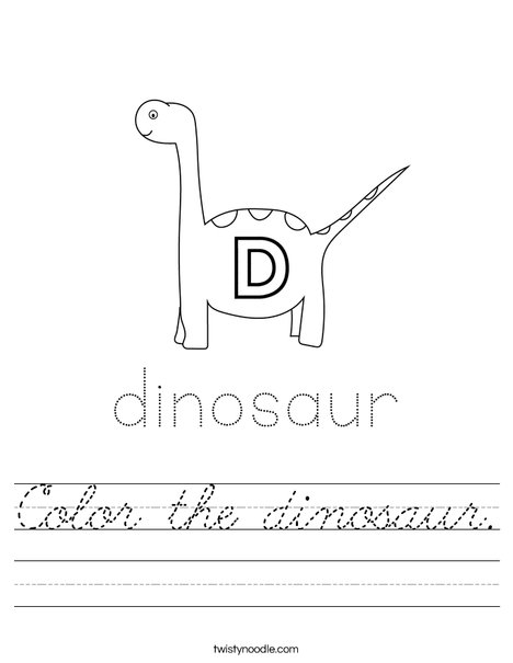 Color the dinosaur. Worksheet