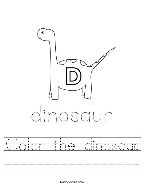 Color the dinosaur. Worksheet