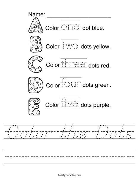 Color the Dots Worksheet