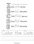 Color the Dots Handwriting Sheet