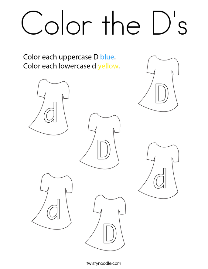 Color the D's Coloring Page