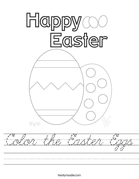 Color the Easter Eggs. Worksheet
