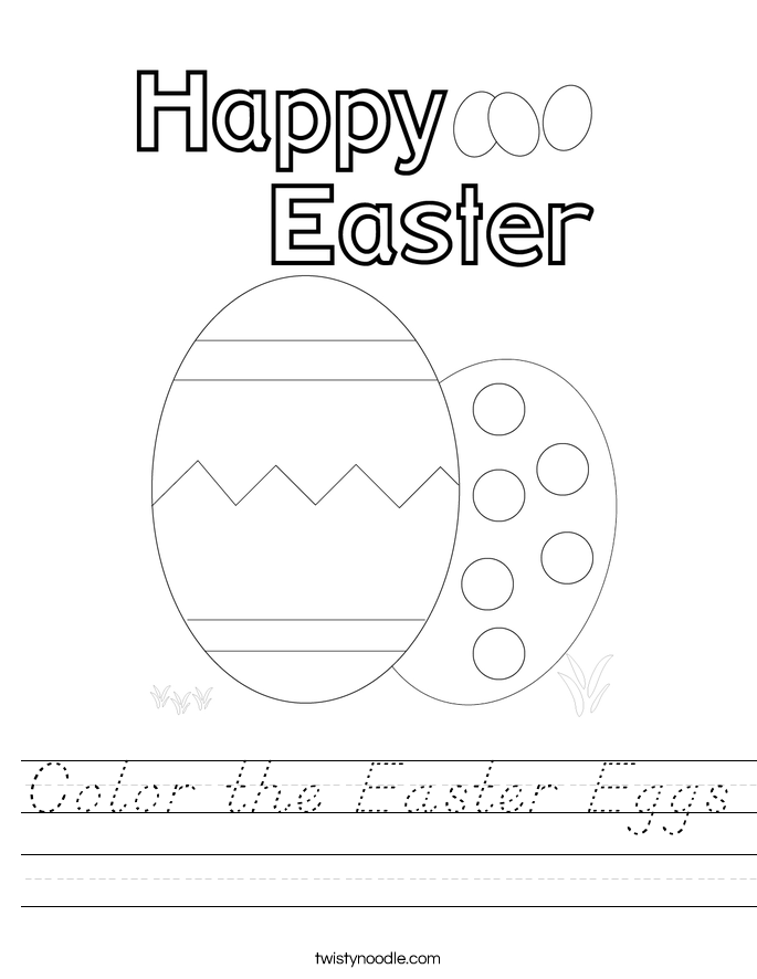 Color the Easter Eggs Worksheet