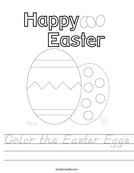 Color the Easter Eggs. Worksheet
