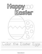 Color the Easter Eggs Handwriting Sheet