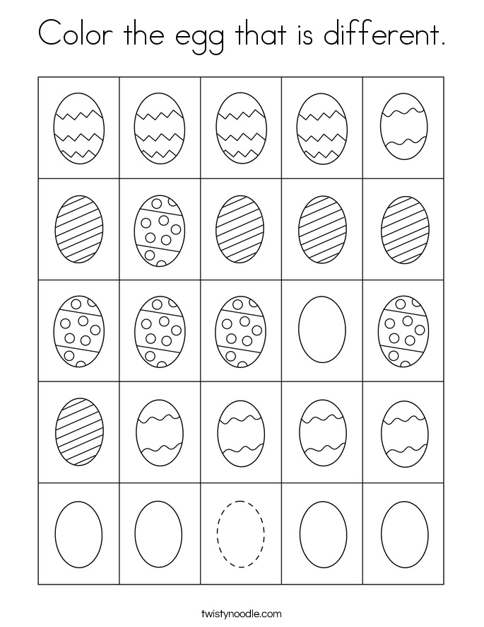 Color the egg that is different. Coloring Page