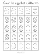 Color the egg that is different Coloring Page