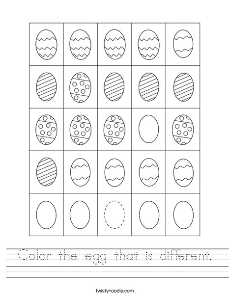 Color the egg that is different. Worksheet