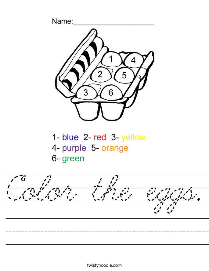 Color The Eggs Worksheet