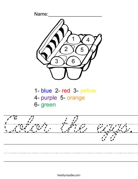 Color the eggs. Worksheet