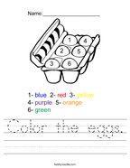 Color the eggs Handwriting Sheet