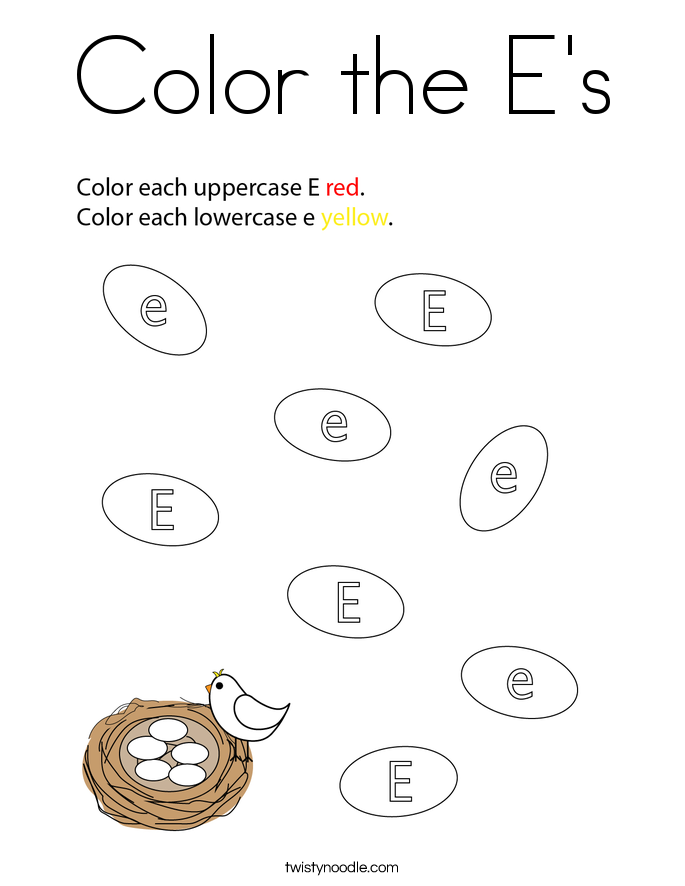 Color the E's Coloring Page