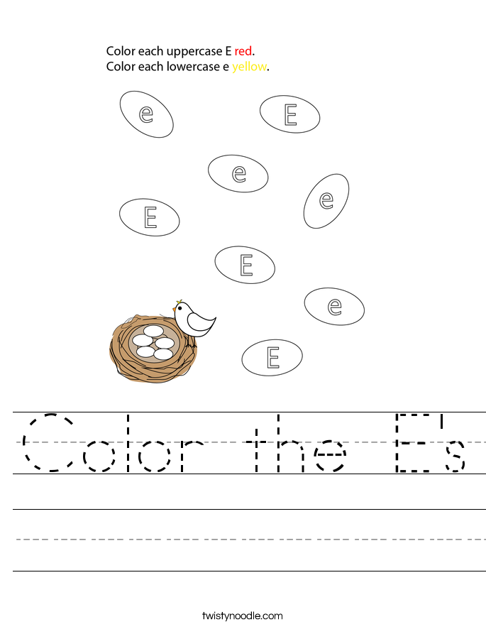 Color the E's Worksheet