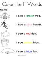 Letter F Coloring Pages - Twisty Noodle