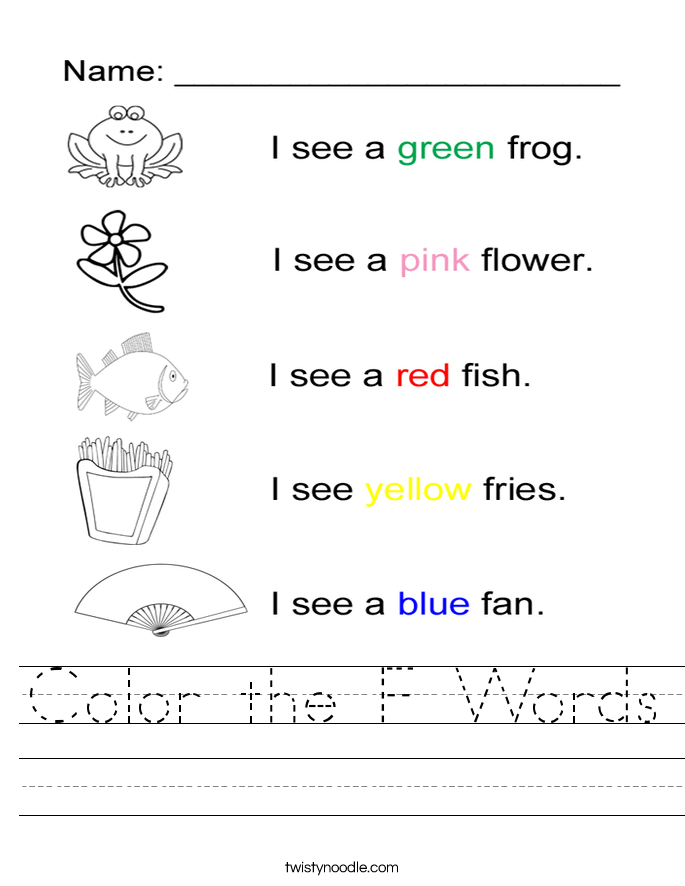 Color the F Words Worksheet