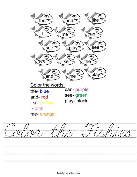 Color the Fishies Worksheet