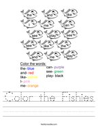 Color the Fishies Handwriting Sheet