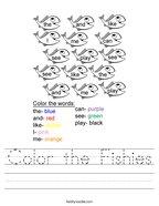 Color the Fishies Handwriting Sheet
