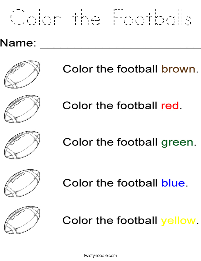 Color the Footballs Coloring Page