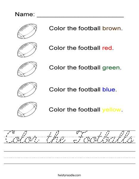 Color the footballs Worksheet
