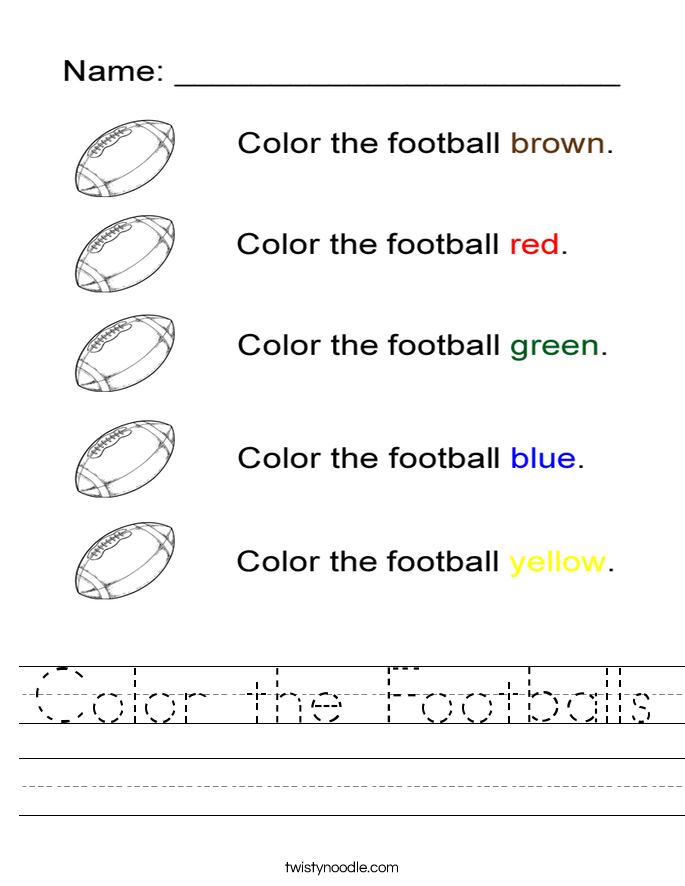 Color the Footballs Worksheet