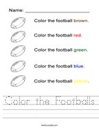 Color the Footballs Handwriting Sheet