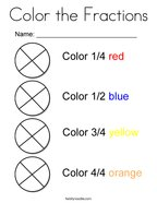 Color the Fractions Coloring Page
