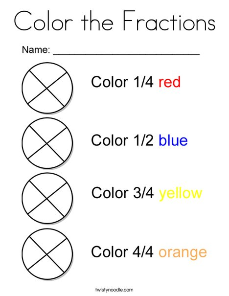 fraction coloring pages