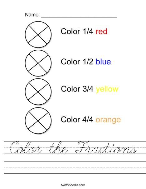 Color the Fractions Worksheet