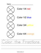 Color the Fractions Handwriting Sheet