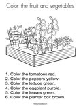 Color the fruit and vegetables. Coloring Page