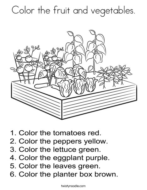 Color the fruit and vegetables Coloring Page Twisty Noodle