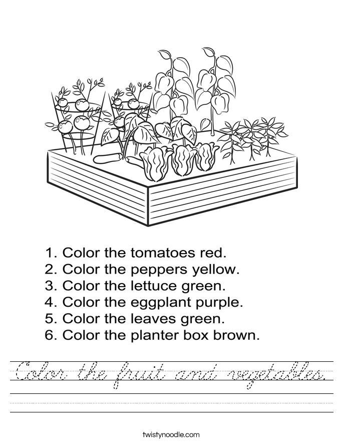 Color the fruit and vegetables. Worksheet