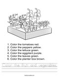 Color the fruit and vegetables. Worksheet