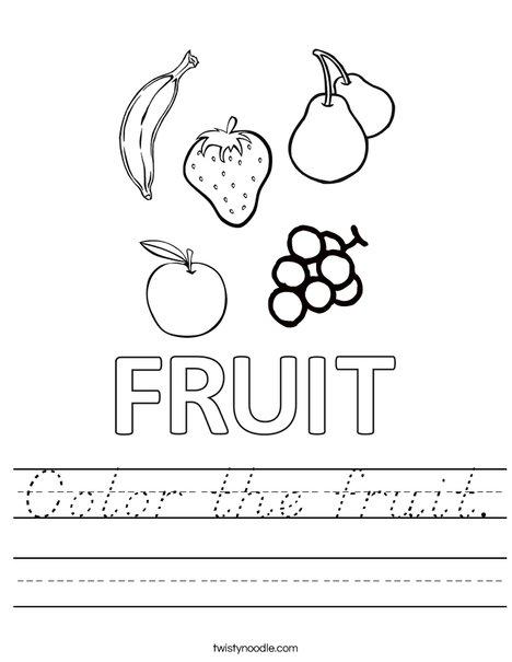 Color the fruits. Worksheet
