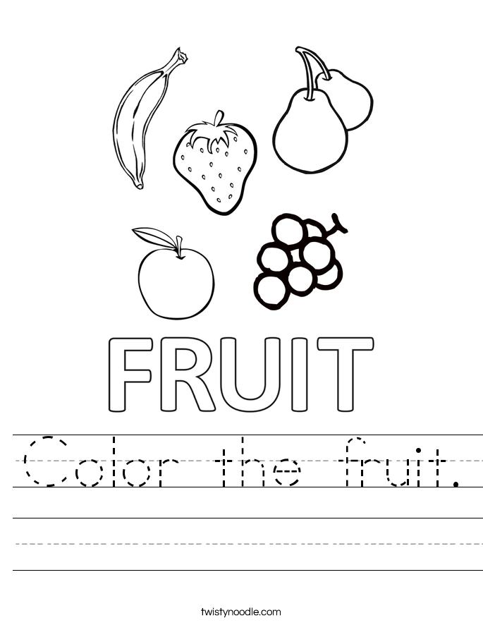 Color the fruit. Worksheet