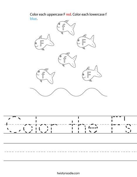 Color the F's Worksheet