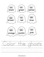 Color the ghosts Handwriting Sheet