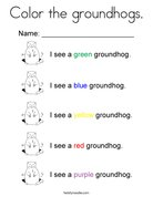 Color the groundhogs. Coloring Page