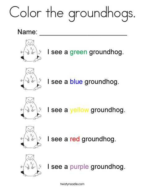 Color the groundhogs Coloring Page