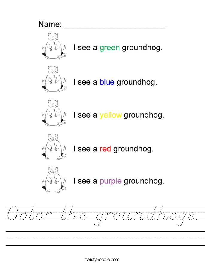 Color the groundhogs. Worksheet