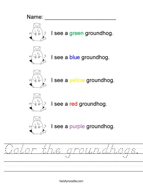Color the groundhogs Worksheet