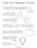 Color the Halloween Words Coloring Page