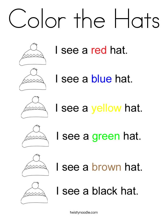 Color the Hats Coloring Page Twisty Noodle